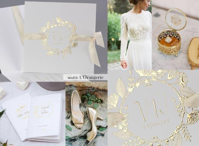 Modèle orangerie - faire-part de mariage chic doré - cottonbird